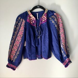 Free People Embroidered Accent Peasant Blouse